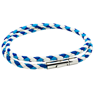 Triple Coloured Blue Woven Double Wrap Leather Bracelet