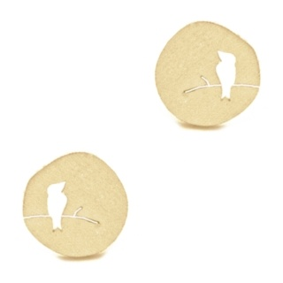 Gold Tone Circular Bird Earrings