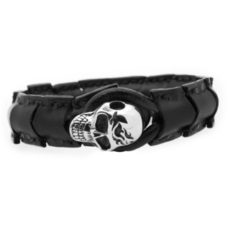 Segmented Black Leather Flamed Skull Bracelet