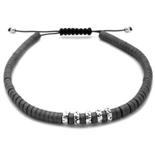 Hematite & 925 Silver Beaded Bracelet