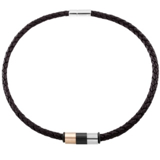 6mm Woven Brown Leather Necklace with Multi Coloured Titanium Beads