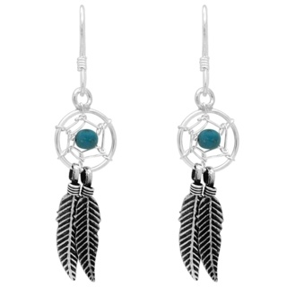 925 Silver & Turquoise Dreamcatcher Earrings