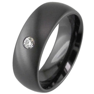 Dome Profile & Large Diamond Set Zirconium Wedding Ring