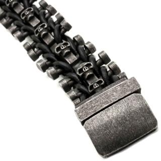 Chunky Black Stainless Steel Skull Bracelet
