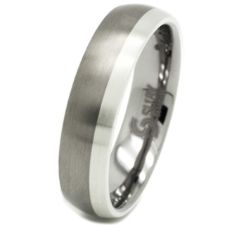 Unisex 6mm Titanium & Silver Ring