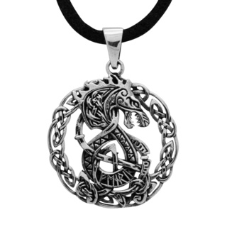 925 Silver Circular Dragon Necklace
