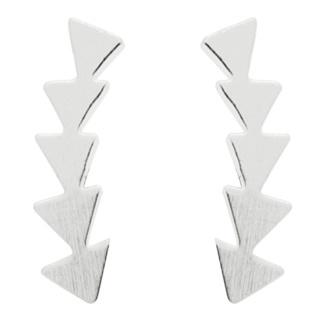 Silver Plated Arrowhead Climber Earrings