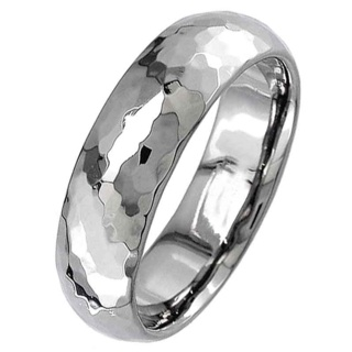 Dome Profile Titanium Ring with a High Polished Hammered Effect
