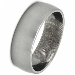 Customised Satin Dome Profile Titanium Ring with Secret Fingerprint