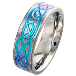 Flat Profile Zirconium Wedding Ring with Anodised Purple Celtic Design