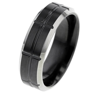 Flat profile Zirconium Ring with Grooved Pattern