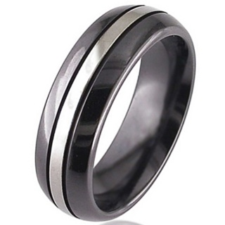 Two Tone Dome Profile Zirconium Wedding Ring