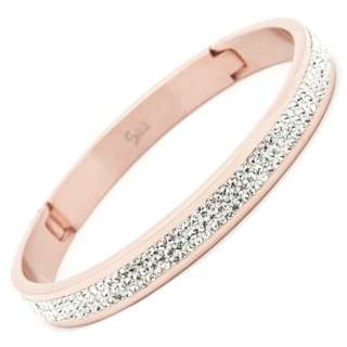 Crystal Set Rose Gold Steel Bangle