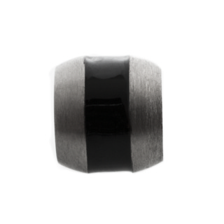 Polished Titanium Bead with Central Black Inlay
