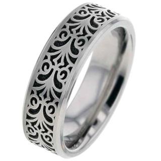 Flat Profile Titanium Wedding Ring with Baroque Design