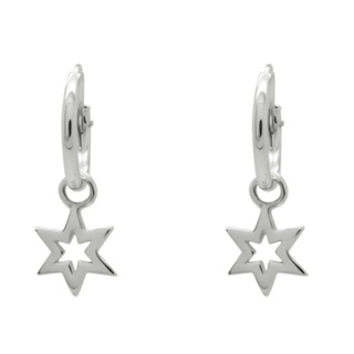 925 Silver Hoops with Silver Star Drops