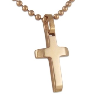 Titanium Rose Cross Necklace