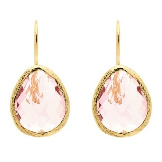 Gold Plated Clear Rose Quartz Teardrop Earrings
