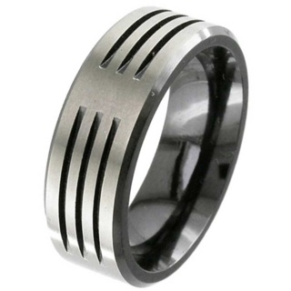 Flat Profile Grooved Zirconium Wedding Ring