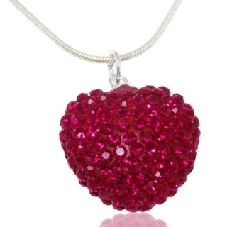 Ruby Crystal Silver Heart Necklace