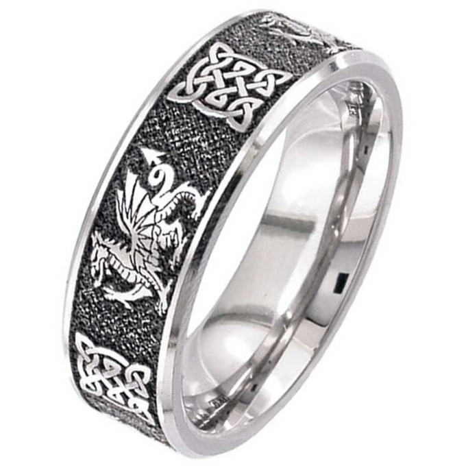 Welsh Dragon Celtic Titanium Wedding Ring