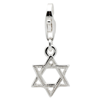 Silver Star Of David Clip on Charm