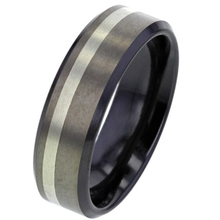 Zirconium Ring with White Gold Inlay