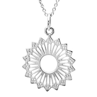 Silver 925 Polished Mandala Sunflower Necklace