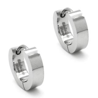 Polished Stainless Steel Huggie Earrings