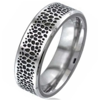 Flat Profile Titanium Wedding Ring with Stingray Pattern