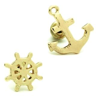 Gold Tone Anchor & Ships Wheel Earrings
