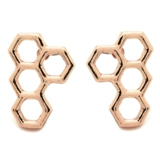 Rose Gold Honeycomb Earrings