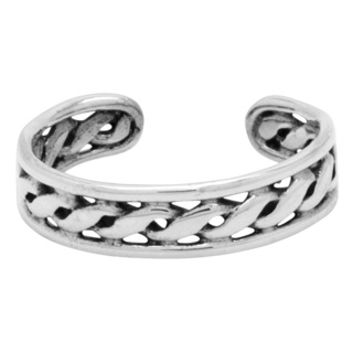 Silver Polished Central Twisted Toe Ring