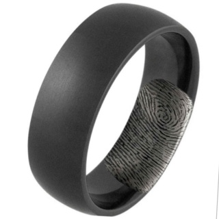 Black Titanium Ring With Secret Fingerprint