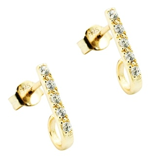 Crystal Set Gold Plated Sterling Silver Earrings
