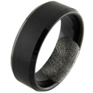 Black Tungsten Fingerprint Ring