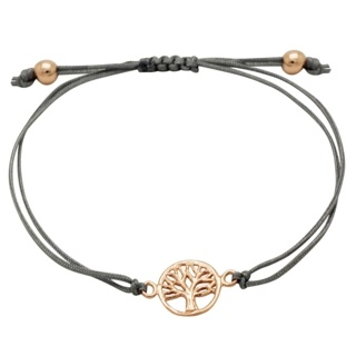 Grey Cotton 925 Silver Rose Gold Tree Of Life Bracelet