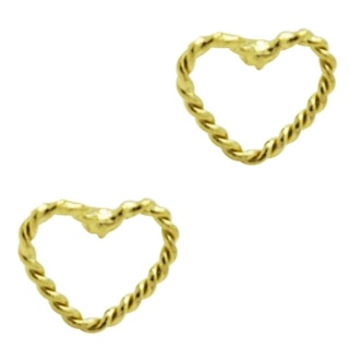 Braided Gold Heart Stud Earrings
