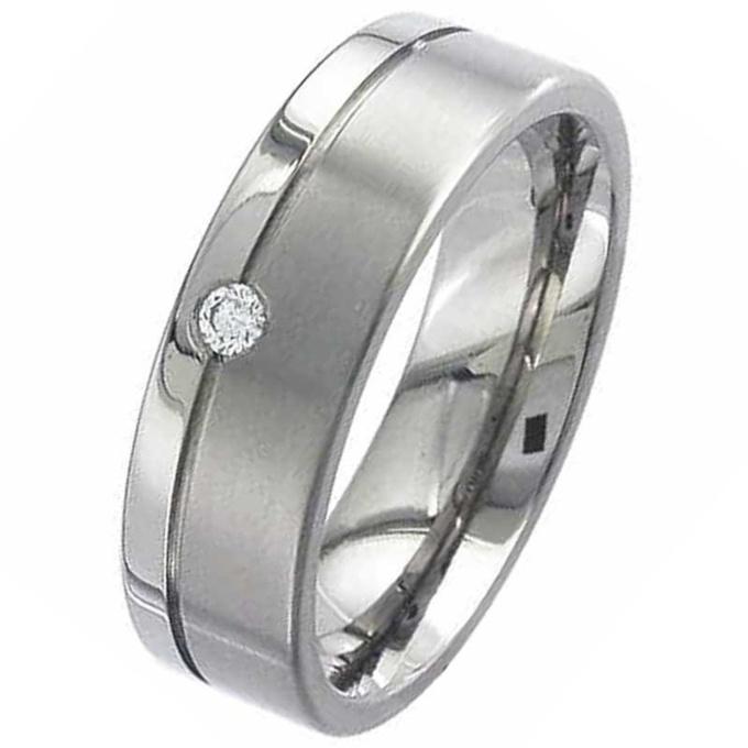Two Tone Flat Profile Diamond Titanium Wedding Ring