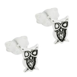 Silver Polished Owl Stud Earrings