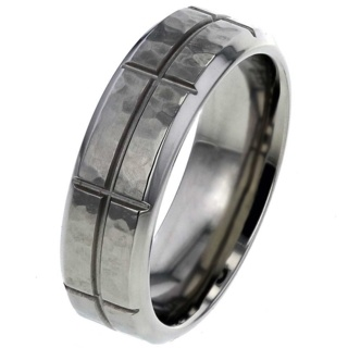 Hammered Titanium Ring with Grooves