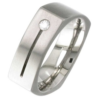 Square Shaped & Diamond Set Titanium Wedding Ring