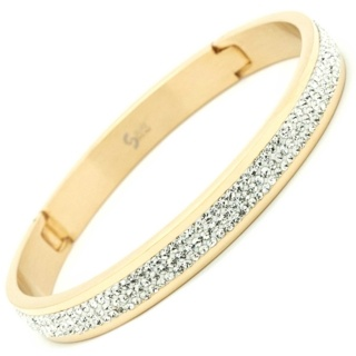 Crystal Set Gold Plated steel Bangle