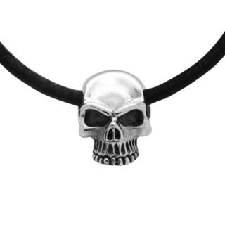 925 Silver Skull Black Leather Necklace