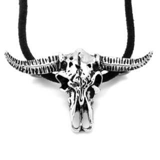 Stainless Steel Buffalo Skull Leather Necklace
