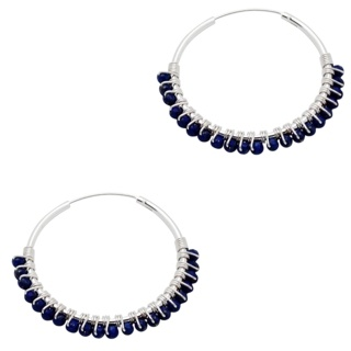 925 Silver Hoop Earrings with Blue Lapis Lazuli Crystals