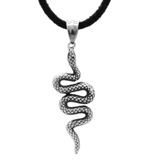 Stainless Steel Snake Pendant & Black Leather Necklace