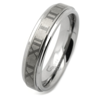6mm Roman Numeral Tungsten Carbide Ring