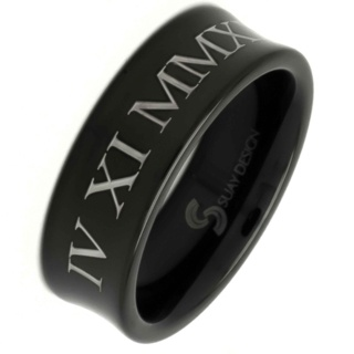 Personalised Roman Numeral Black Tungsten Carbide Ring