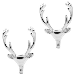 Silver Stag Stud Earrings